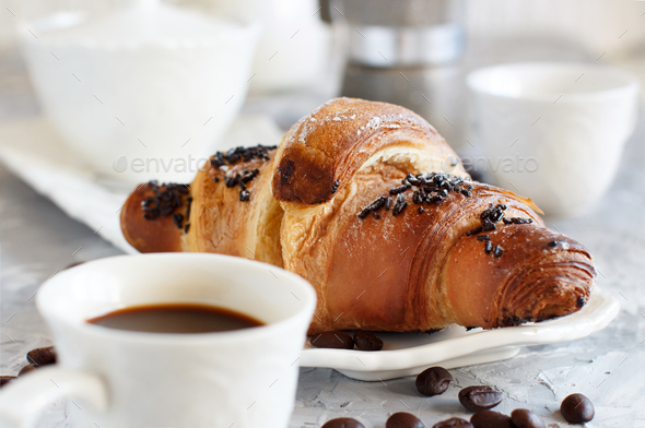 Breakfast with coffee and croissant - Stock Photo - Images