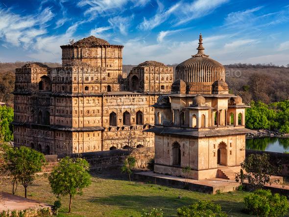 Royal cenotaphs of Orchha, India - Stock Photo - Images
