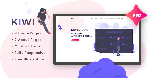Kiwi - Creative One Page PSD Template - Creative PSD Templates