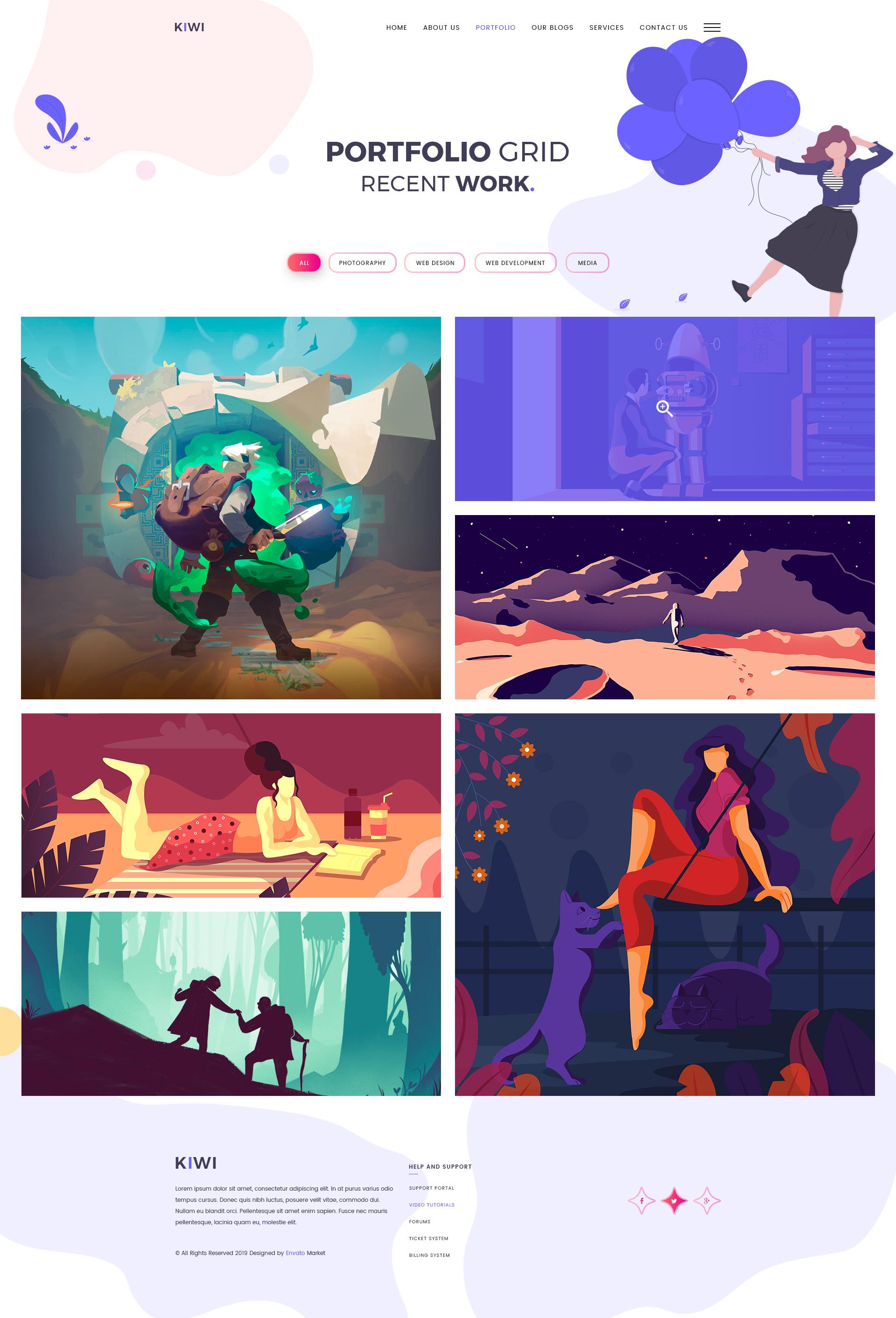 Kiwi - Creative One Page PSD Template