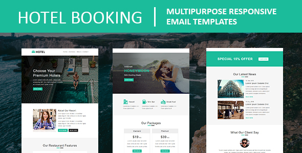 Hotel Booking - Multipurpose Responsive Email Template by fourdinos