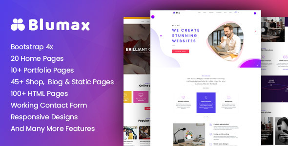 Blumax Multi Purpose Responsive Website Templates By Uxliner