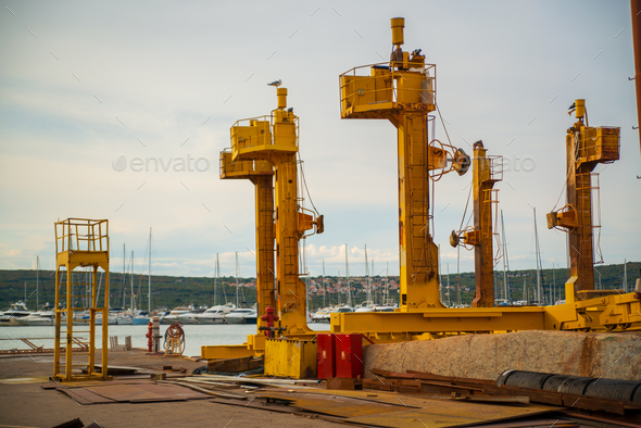 Shipyard in Punat harbor, Krk Island , Croatia - Stock Photo - Images