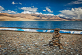 Stone cairn at Himalayan lake Tso Moriri - PhotoDune Item for Sale