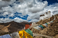 Leh gompa and lungta prayer flags, Ladakh - PhotoDune Item for Sale