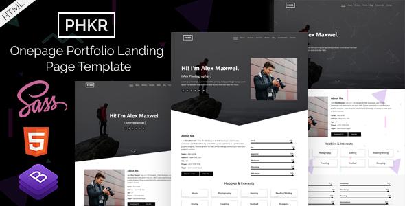 PHKR - Onepage Portfolio Landing Page Template - Portfolio Creative