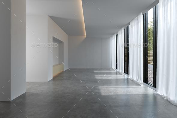 . Interior empty room 3D rendering