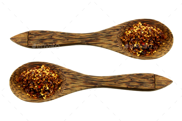 Wooden Spoons with Chilli Flakes - Stock Photo - Images