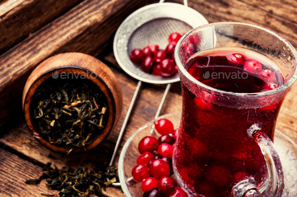 Hot tea with cranberry - Stock Photo - Images