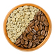 Green and roasted Arabia coffee beans in wooden bowl - PhotoDune Item for Sale