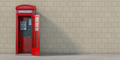 Red phone booth with hanging receiver on wall background. London - PhotoDune Item for Sale