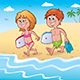 Kids with Bodyboards at the Beach - GraphicRiver Item for Sale