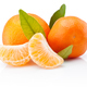 Two tangerines with leaves and peeled pieces isolated on white b - PhotoDune Item for Sale
