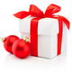 White gift box tied red ribbon bow and two Christmas bauble Isol - PhotoDune Item for Sale
