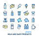 Milk Dairy Products Signs Color Thin Line Icon Set - GraphicRiver Item for Sale