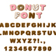 Donuts decorative font glazed sweet letters and numbers. Cute design. 3D illustration - PhotoDune Item for Sale