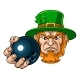 Leprechaun Holding Bowling Ball Sports Mascot - GraphicRiver Item for Sale