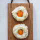 French breakfast with orsini eggs on wooden background, flat lay - PhotoDune Item for Sale
