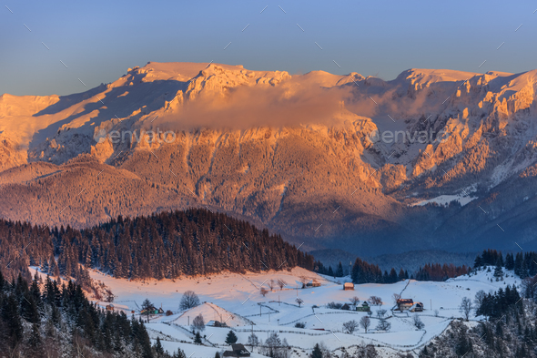 sunset in Bucegi Mountains, Romania - Stock Photo - Images