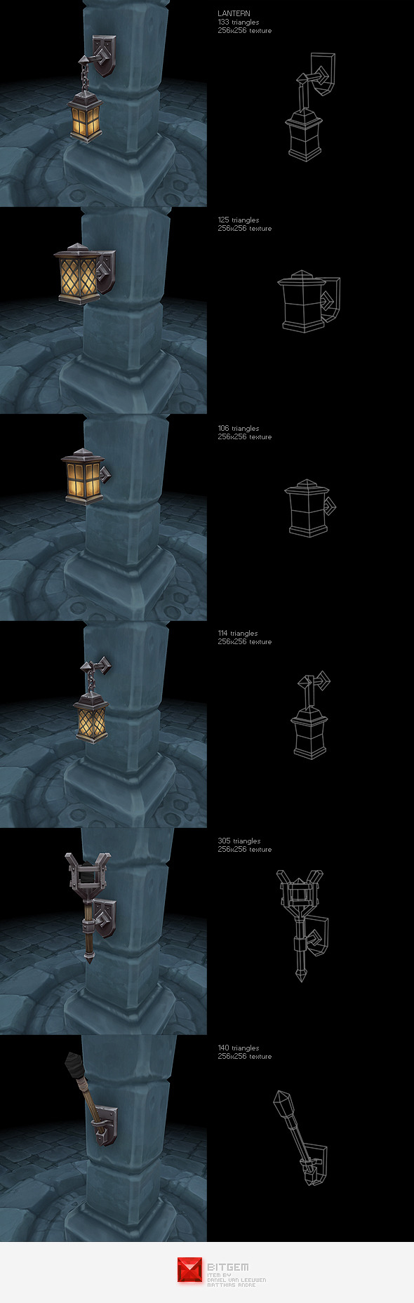 Low Poly Lantern Set - 3DOcean Item for Sale