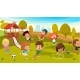 Kids Play in a Park Playground Vector Illustration - GraphicRiver Item for Sale