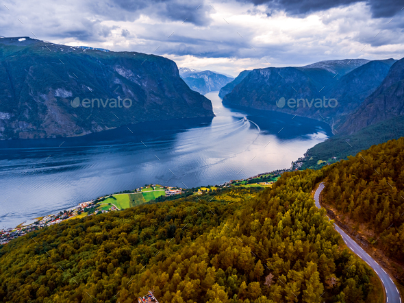 Beautiful Nature Norway Stegastein Lookout. - Stock Photo - Images