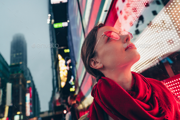 Beautiful young girl in New York - Stock Photo - Images