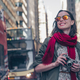 Smiling young girl with a retro camera in the city - PhotoDune Item for Sale
