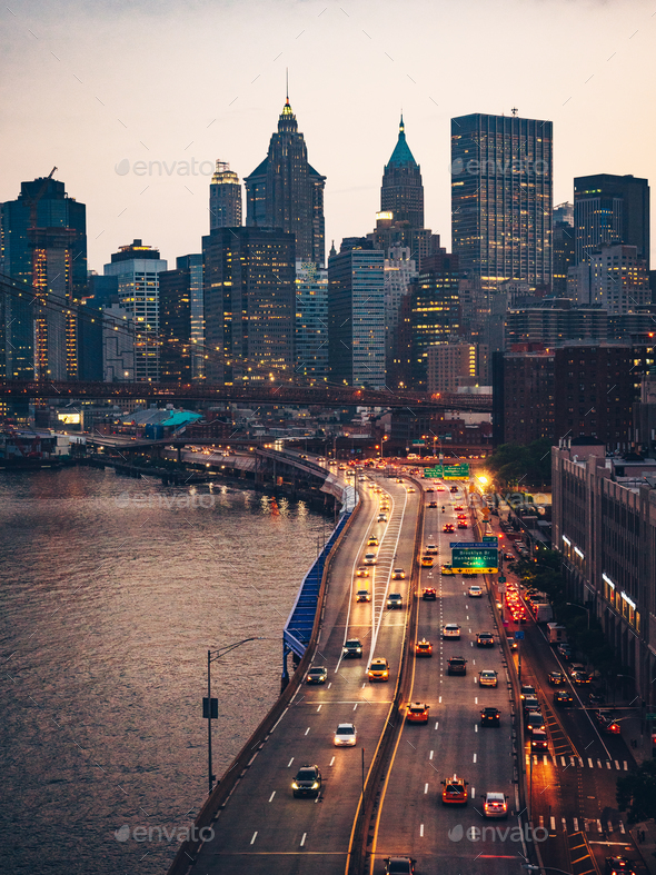 View of the Manhattan Bridge and skyscrapers in New York - Stock Photo - Images