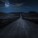 Moon, stars and clouds in the night. Wild west road illuminated - PhotoDune Item for Sale