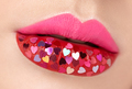 Beautiful plump pink lips with pasted hearts - PhotoDune Item for Sale