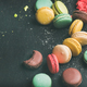 Sweet colorful French macaroon cookies variety with sugar powder - PhotoDune Item for Sale