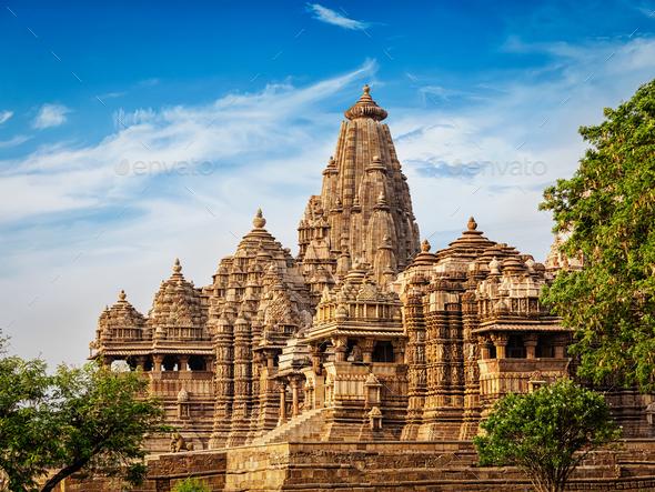 Famous temples of Khajuraho - Stock Photo - Images