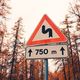 Road sign in autumn forest in the evening with vintage toning - PhotoDune Item for Sale