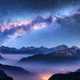 Milky Way above mountains in fog at night in autumn - PhotoDune Item for Sale