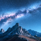 Milky Way above mountains at night in autumn in Dolomites, Italy - PhotoDune Item for Sale
