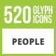 520 People Glyph Inverted Icons - GraphicRiver Item for Sale