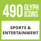 490 Sports & Entertainment Glyph Inverted Icons - GraphicRiver Item for Sale