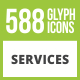 588 Services Glyph Inverted Icons - GraphicRiver Item for Sale
