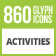 860 Activities Glyph Inverted Icons - GraphicRiver Item for Sale