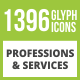 1396 Professions & Services Glyph Inverted Icons - GraphicRiver Item for Sale