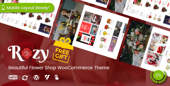 Rozy - Flower Shop WordPress WooCommerce Theme (4+ Indexes + Mobile Layouts Ready) - WooCommerce eCommerce