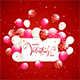 Text Happy Valentines Day with Balloons and Confetti on Red Holiday Background - GraphicRiver Item for Sale