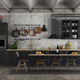 Retro black kitchen in a grunge interior - PhotoDune Item for Sale
