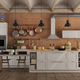 Retro white kitchen in a old interior with brick wall - PhotoDune Item for Sale