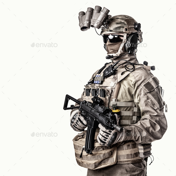 Special operations fighter studio shoot on white - Stock Photo - Images