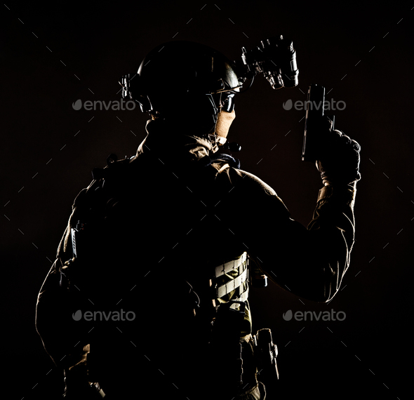 Special forces soldier on secret night operation - Stock Photo - Images