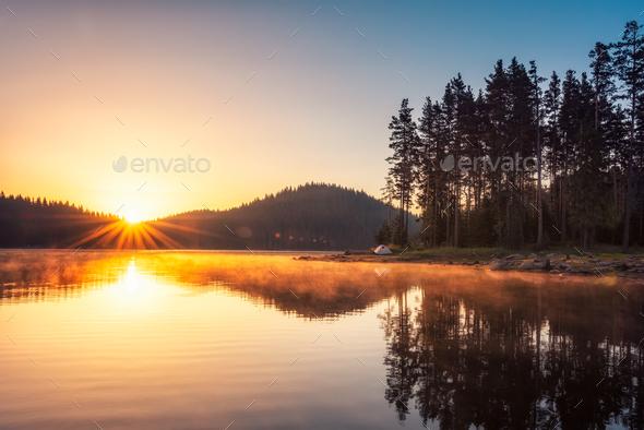 Lake sunrise - Stock Photo - Images