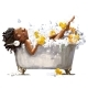 Young African Woman in Bath - GraphicRiver Item for Sale