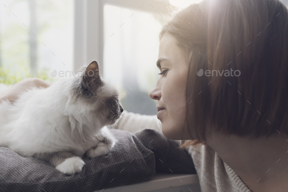 Woman petting her cat next to a window - Stock Photo - Images